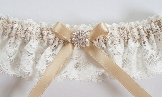 Garter in Ivory Lace over Champagne Band with Pave Crystal Centering - The JOHANNA Garter