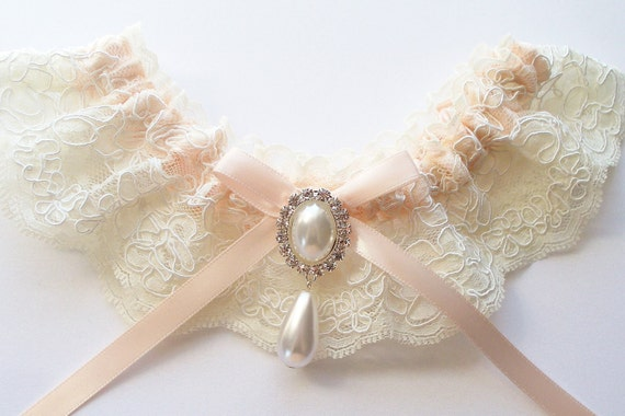 Wedding Garter in Ivory Alencon Lace and Pearl/Crystal Detail, INCLUDES satin band toss garter - The MADELINE Garter