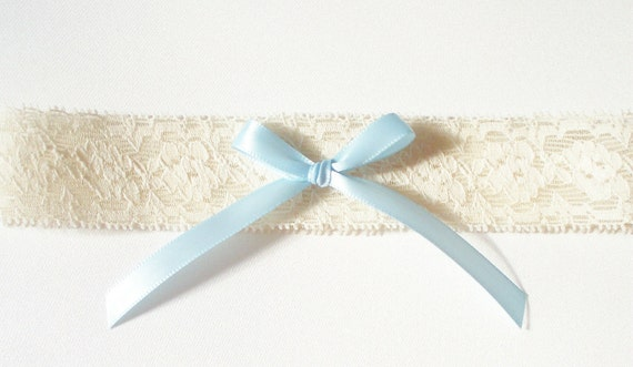 Wedding Toss Garter, Ivory Stretch Lace, Blue Bow