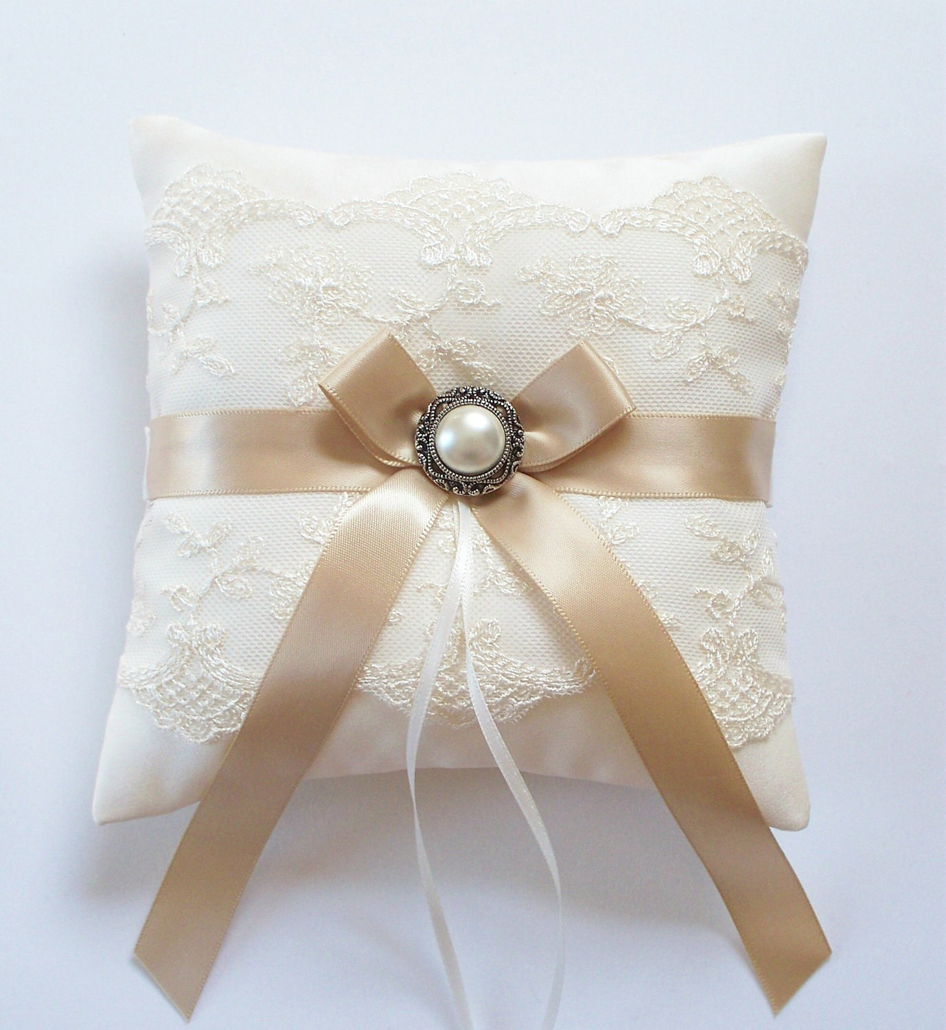 Wedding Ring Pillow in Ivory Lace MINI-size by JLWeddings ...
