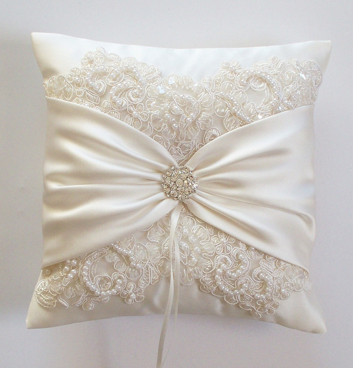 Wedding Pillow Wedding Cushion Lace Pillow Ivory Satin and