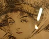 Antique Framed Gibson Girl c.1910 Print