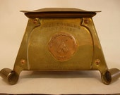 Antique 1907 Mixed Doubles Tennis Copper and Brass Trophy Inkwell Winchester Country Club