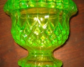Vintage Vaseline Glass Pair of Small Compotes or Vases