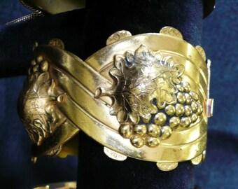 Vintage Gilt Brass Grape Motif Cuff Bangle
