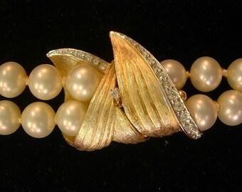 Vintage Marvella Double Strand Pearls Rhinestone Clasp