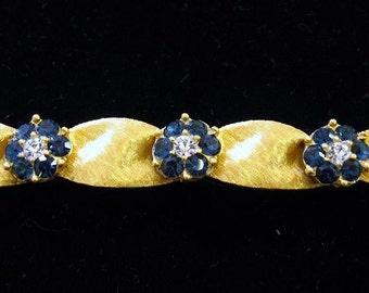 Vintage Crown Trifari Costume Sapphire and Diamond Bracelet
