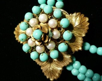 Miriam Haskell Signed Turquoise and Pearl Necklace  1960s