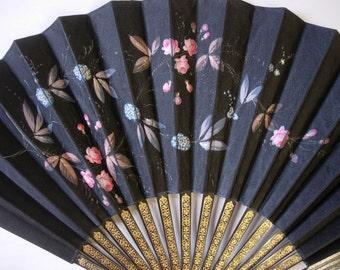 Black Silk Handpainted Fan