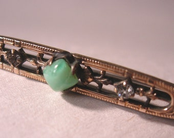 Victorian Bar Pin with 2 Small Brown Diamonds and Jade
