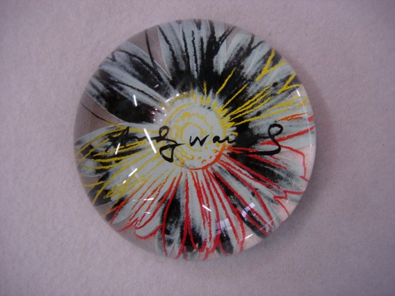 Vintage Andy Warhol Signature Rosenthal Flower Paperweight RESERVED for Susan 909
