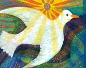 Brand New Day  Art  Print - Limited Edition 10 x 14 - White Dove - Original Acrylic Painting - Folk Art - Peace - Bird Paintng