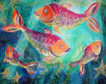 Four Fish Swimming  Art Print-10 x 14 Limited Edition -Beach Decor - Acrylic Painting - Sealife - Fish Family - Tropical Fish