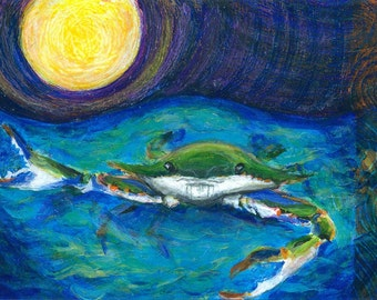 Back Off  Art Print  - Blue Crab Beach Decor  10 x 14 limited editon