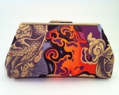 Asian Inspired Evening Bag - Orange and Purple Fabric Clutch Handbag for Weddings, Special Occasions