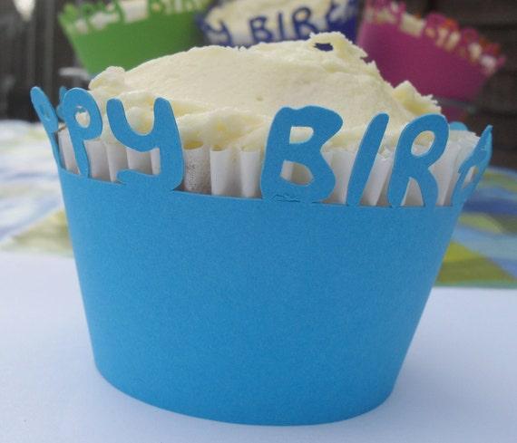 Cupcake wrapper - Blue Happy Birthday