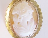 Vintage Carved Shell Cameo Brooch Pendant