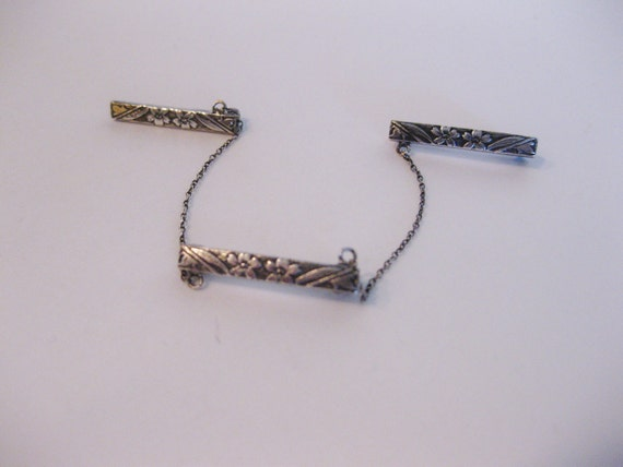 Antique Sterling Embossed Victorian Lingerie Three Pin Set