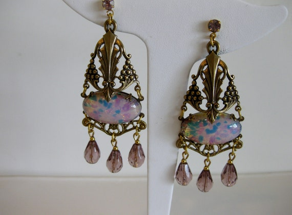 Gorgeous Vintage Art Deco Style Earrings with Mexican Fire Opal Stones