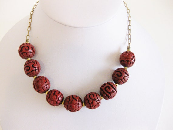 Vintage Carved Cinnabar Beaded Necklace on 12K Gold Fill Chain