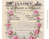 Instant Download no.292 Dairy Ad Roses Garland Printable Art Collage Sheet Tattered Vintage 292