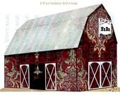 Barn Wedding Poster Instant Download no.400  Antique Wallpaper Collage Sheet Tattered Vintage 400
