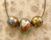 Ceramic Raku Beads - Focal Set of Three Round Metallic Beads