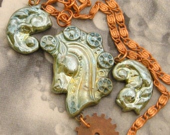 Steampunk Necklace - Seafoam Green Horse with Gears