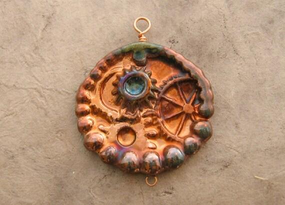 Raku Steampunk Pendant - Copper and Green Gear and Bearing Medallion