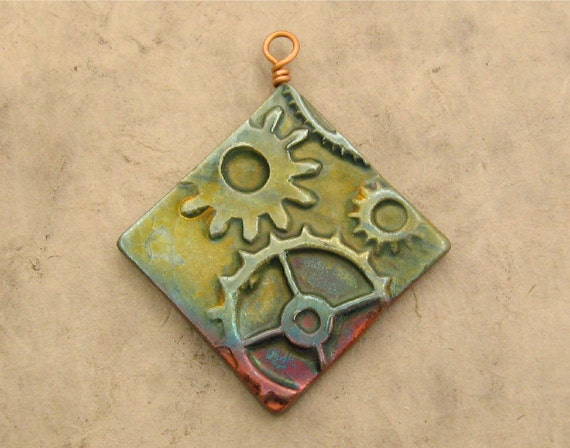 Ceramic Steampunk Pendant - Green Diamond with Gears