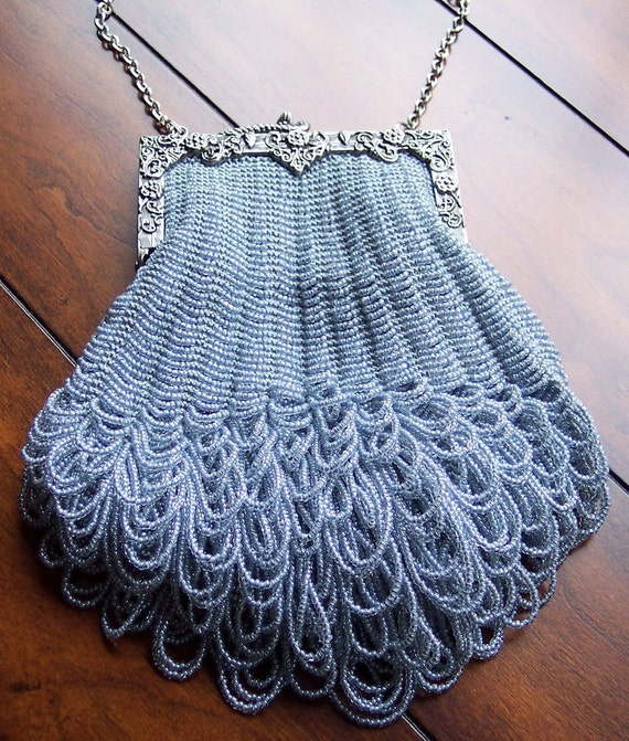 Knitting Pattern Evening Bag : Items similar to Beaded Knitted Evening Bag - Grand ...