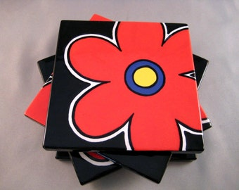 SALE - Daisy in the Dark Coasters - Set of 4