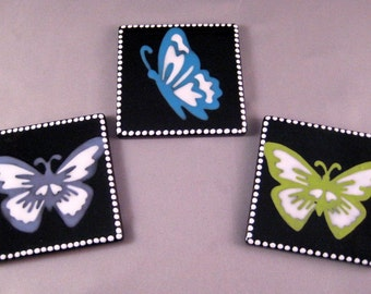 SALE - Butterfly Magnets - Hand Painted Set of Three