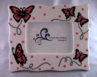 Pink Butterflies Wavy Frame