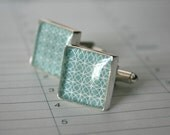 Security Envelope Cufflinks - Green Circles Pattern Square