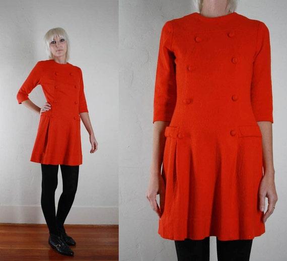 Vintage 60s MOD Orange Button Front Mini Dress XS