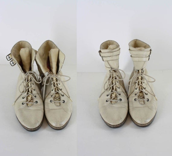 Vintage Flat White Lace Up Granny Pixie Buckle Ankle Boots 36  6