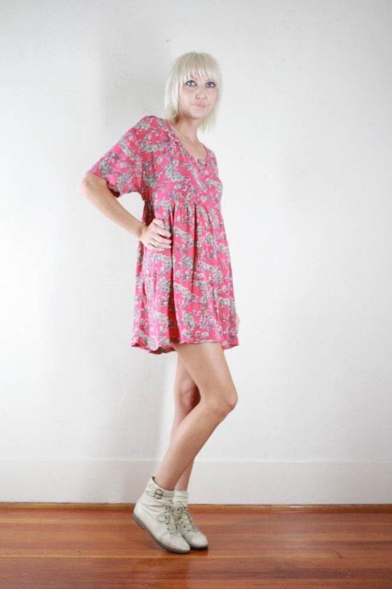 Vintage 90s Pink Floral Babydoll Mini Dress Tunic Top S M L