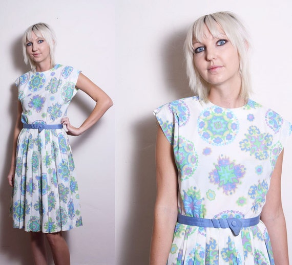 Vintage 50s 60s R & K Originals Pastel Garden Floral Paisley Psychedelic Day Dress
