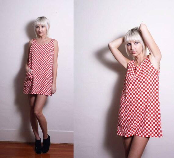 Vintage 60's Mod Checkered Red White Micro Mini Shift Dress S M