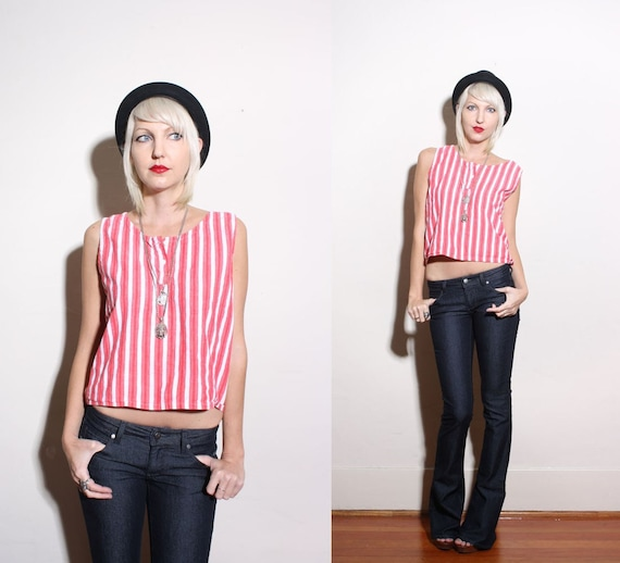 Vintage Red and White Striped Indian Crop Tank Top