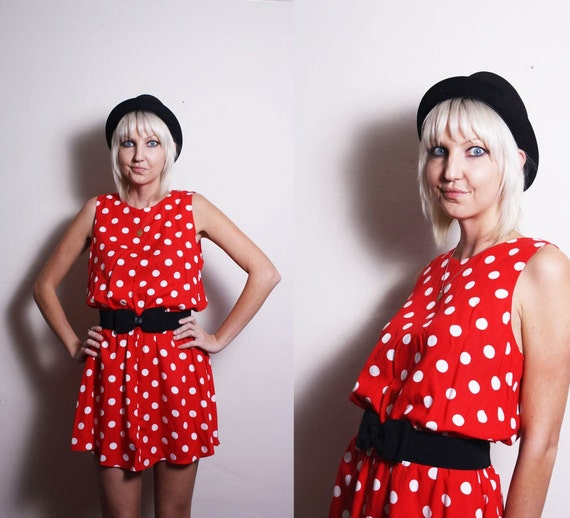 Vintage 90s Red White Polka Dots Minnie Mouse Mini Dress
