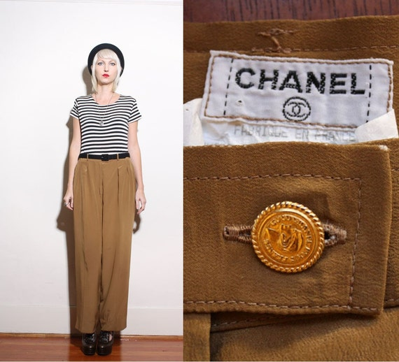 Vintage CHANEL Brown Silk High Waist Pleated Trousers 44