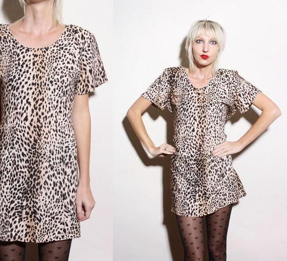 RESERVED samanthaboyd Vintage 80s 90s Leopard Cheetah Print Grunge Babydoll Mini Dress