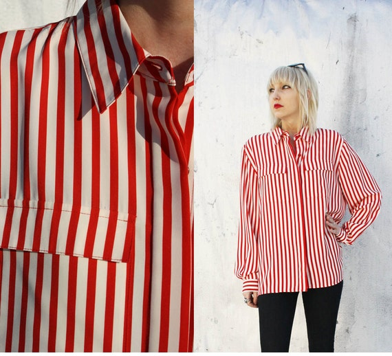 Vintage red white striped blouse button up top shirt for Red and white striped button down shirt