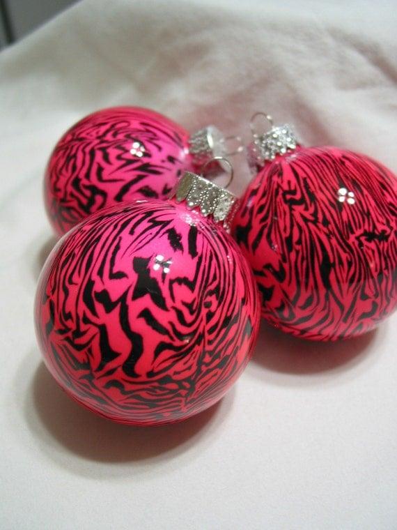 Set of 3 Pink Zebra Christmas Ornaments
