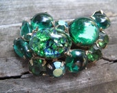 Weiss Brooch with Green Stones Estate Jewelry