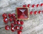 Vintage Art Deco Ruby Red Glass Necklace