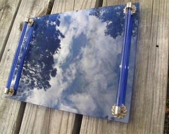 Glass Cobalt Blue Moonwind Avon Vanity Tray Art Deco Estate Find