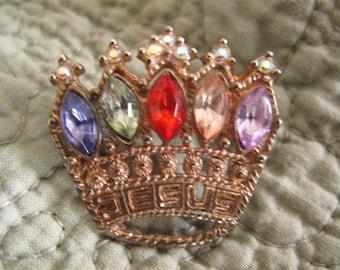 Vintage Jesus Rhinestone Crown Brooch